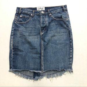 One by One Teaspoon Denim Frayed High Waist Skirt